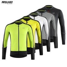 цена на ARSUXEO Men's Full Zipper Cycling Jersey Bicycle Bike Shirt Long Sleeves  Downhill MTB Mountain Bike Shirts Bicycle Clothing