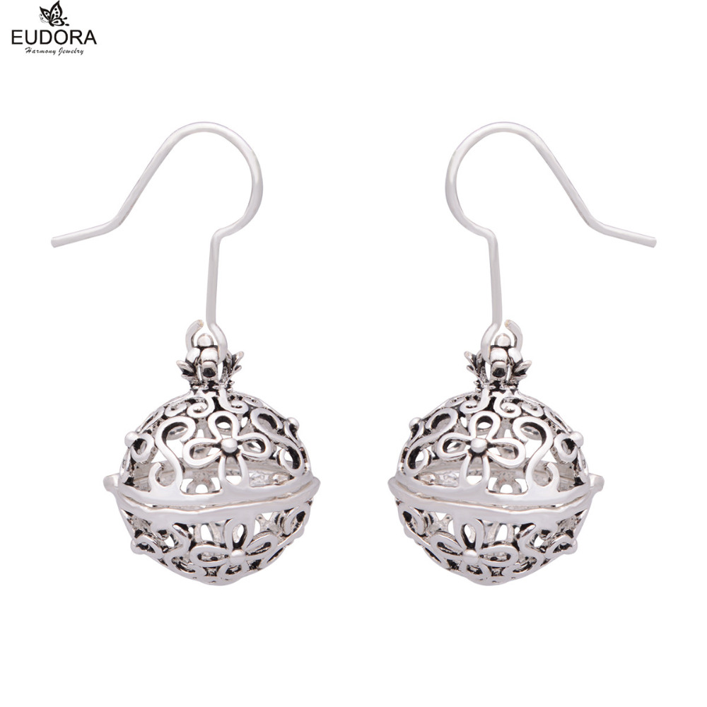 Vintage Flower Harmony Bola Aromatherapy Locket Earrings 12mm Copper Pregnancy Ball Earring Jewelry For Pregnant Women