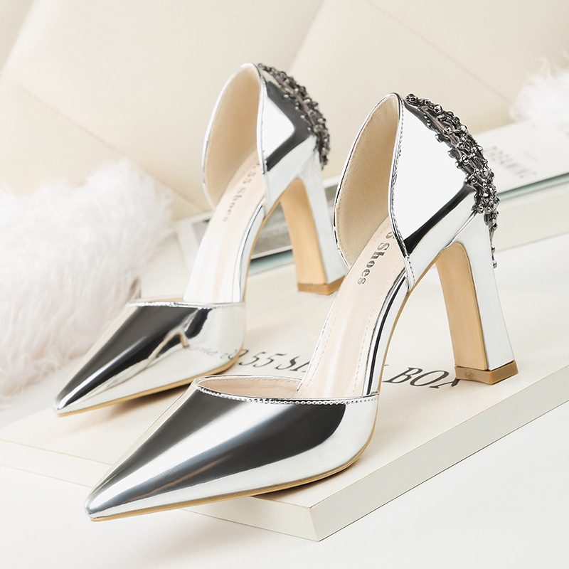 Fall Pointed Toe Block Heels Sexy Shoes Women Pumps 2018 Black Silver  Golden Wedding Shoes Ladies Office Work Shoes High Heel 9ad67acedfc4
