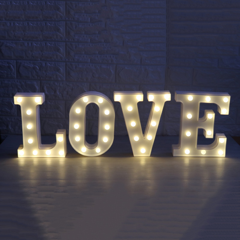 Tanbaby 26 Letter Holiday Holiday Party Illumination White LED Night Light Family Party Wedding Bedroom Wall Decoration Light