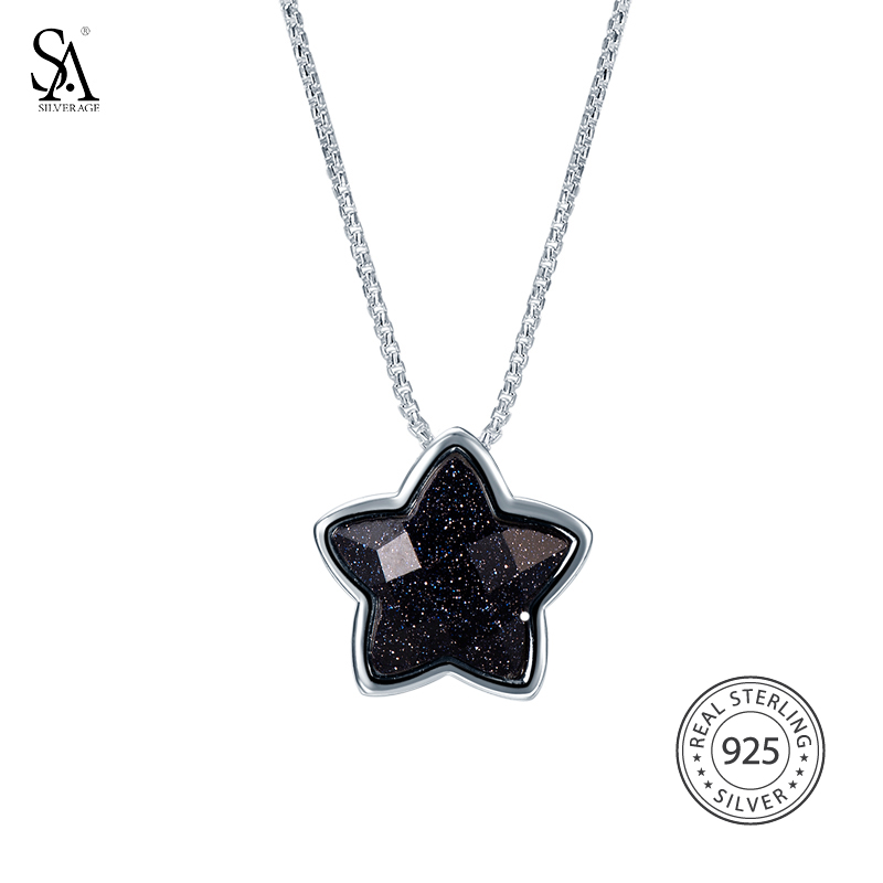 SA SILVERAGE 925 Sterling Silver Star Long Necklaces Pendants for Women Fine Jewelry Vintage 925 Silver