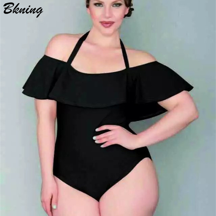 2bc8fc24b0639 Ruffle Plus Size Swimwear Off The Shoulder One Piece Swimsuit 2018 Velvet  Monokini Push Up Swim suit Vintage Beach Wear Bodysuit