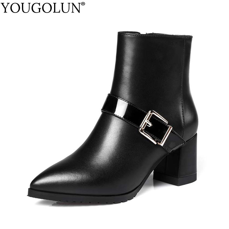 YOUGOLUN Women Ankle Boots 2017 New Autumn Winter Genuine Leather Thick Heel 6 cm High Heels Buckle Pointed toe Shoes #Y-188 autumn winter high quality new genuine leather wedges high heels ankle boots elegant fashion pointed toe buckle women boots