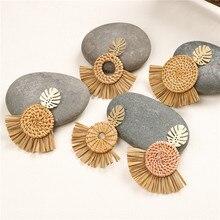SEDmart Fashion Tassel Tropical Palm Leaves Straw  Drop Earrings for Women Rattan Raffia Geometric Woven Trendy Boho Jewelry
