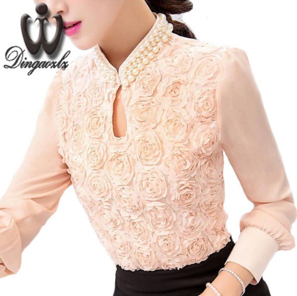 Dingaozlz New Plus-størrelse Kvinner Chiffonbluse Sexy Flower Beaded blonder Topper langermet Casual skjorte Patchwork Dameklær
