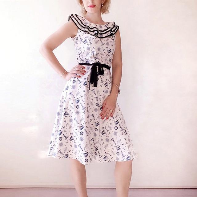 Audrey Hepburn Vintage Peter pan Collar Belt Bow Slim Swing Dress Women  Casual Party Rockabilly 50s Dresses d506d7e12ff7