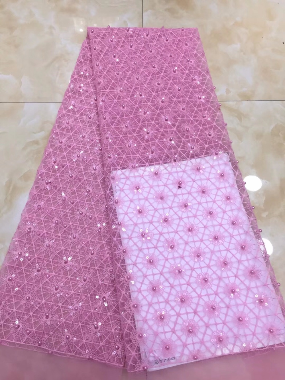 African High Quality Lace With beads Fashion French Net Lace Fabric 2018 Latest African Mesh LaceAfrican High Quality Lace With beads Fashion French Net Lace Fabric 2018 Latest African Mesh Lace