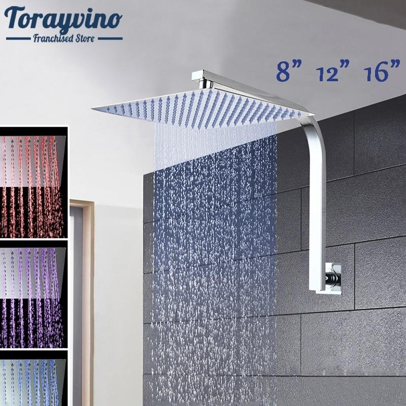 8 12 16 Rainfall Shower Head System Bath & Shower Faucet With Shower Arm&Hand Spray Bathroom Rain Mixer Shower Set