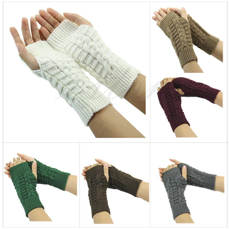 Z101 Pretty Stylish font b Winter b font Hand Arm Crochet Knitting Wool Mitten Fingerless font