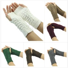 Z101″Pretty Stylish Winter Hand Arm Crochet Knitting Wool Mitten Fingerless Gloves Free shipping