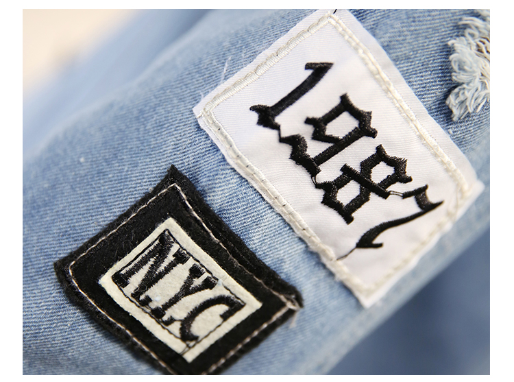 Women Frayed Denim Bomber Jacket Appliques Print Where Is My Mind Lady Vintage Elegant Outwear Autumn Fashion Coat 13