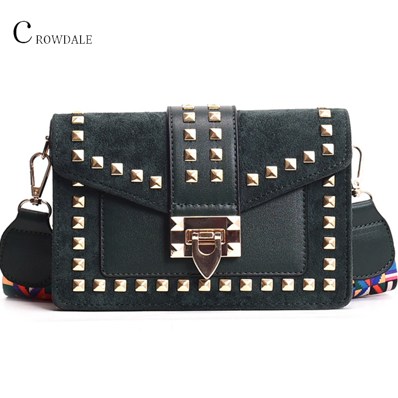 CROWDALE Women Bag Wide Shoulder Strap Small Square Bag Fashion Rivet Crossbody Ladies Shoulder Bags Messenger New Designer