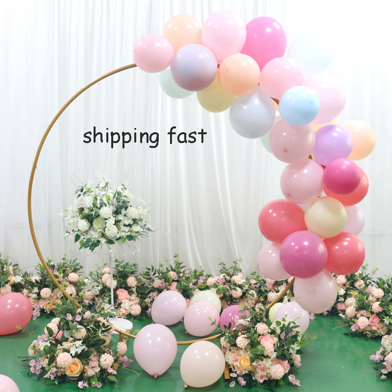 Artificial Wedding backdrop wrought iron ring arch shelf flowers balloon decorations party event supplies flower arch stand(China)