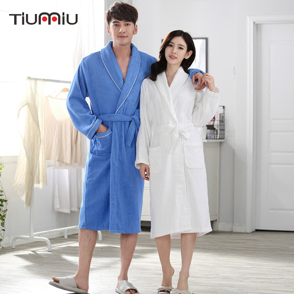 100% Cotton Couples Bathrobe Thick Bathrobe Winter Autumn Thickening Terry Women Cotton Robe Men Chinese Kimono Sleepwear