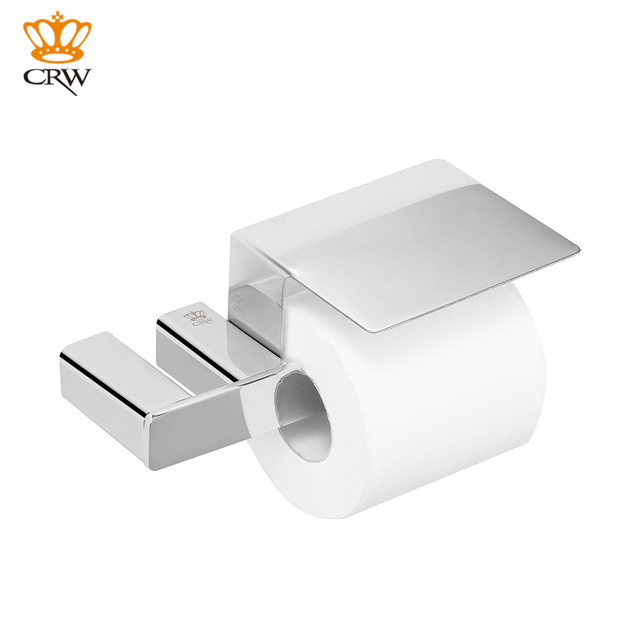 Crw Copper Toilet Paper Holder With Cover Wall Mounted Chrome Finish Higienico 72111