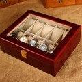 (Специальная Цена) 10 Слоты Смотреть Дисплей Box Светло-Красный МДФ Смотреть Организатор 10 Случаях Вахта Хранения Подарочная Коробка С Замком M031