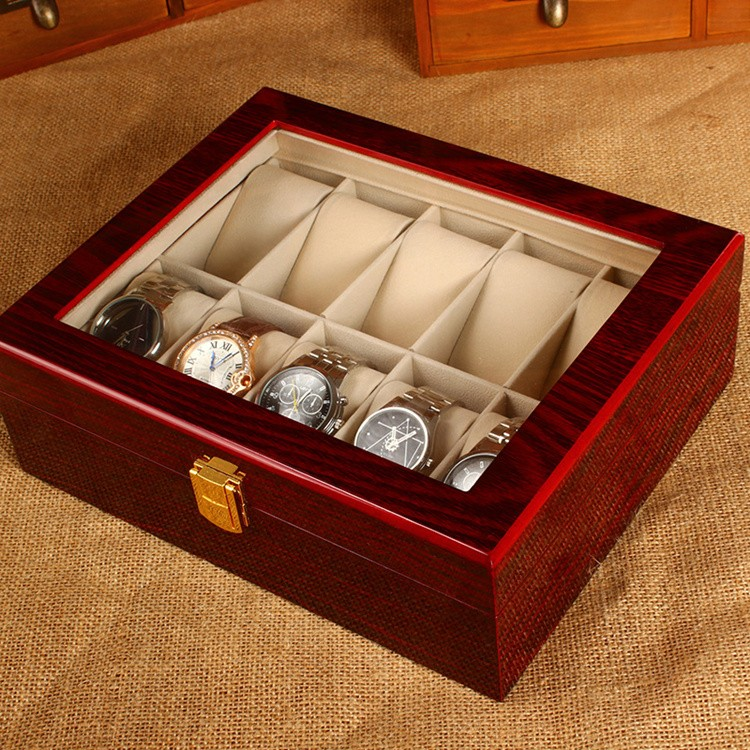 (Special Price) 10 Slots Watch Display Box Light Red MDF ...