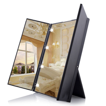 Blue ZOO Tri-Fold Makeup Mirror With LED Lights Foldable Cosmetic Mirrors for Tabletop Bathroom Travel Dropshipping