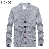 EICHOS Fashion Knitted Sweater Men Buttons Cardigan Male Slim V Neck Sweaters Cotton Casual Mens Cardigan Coats Solid Color