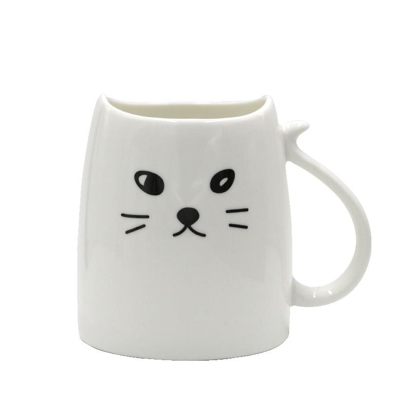 Teagas Cool Cat Coffee Mugs 12 Oz White Morning Milk Tea Ceramic Mug