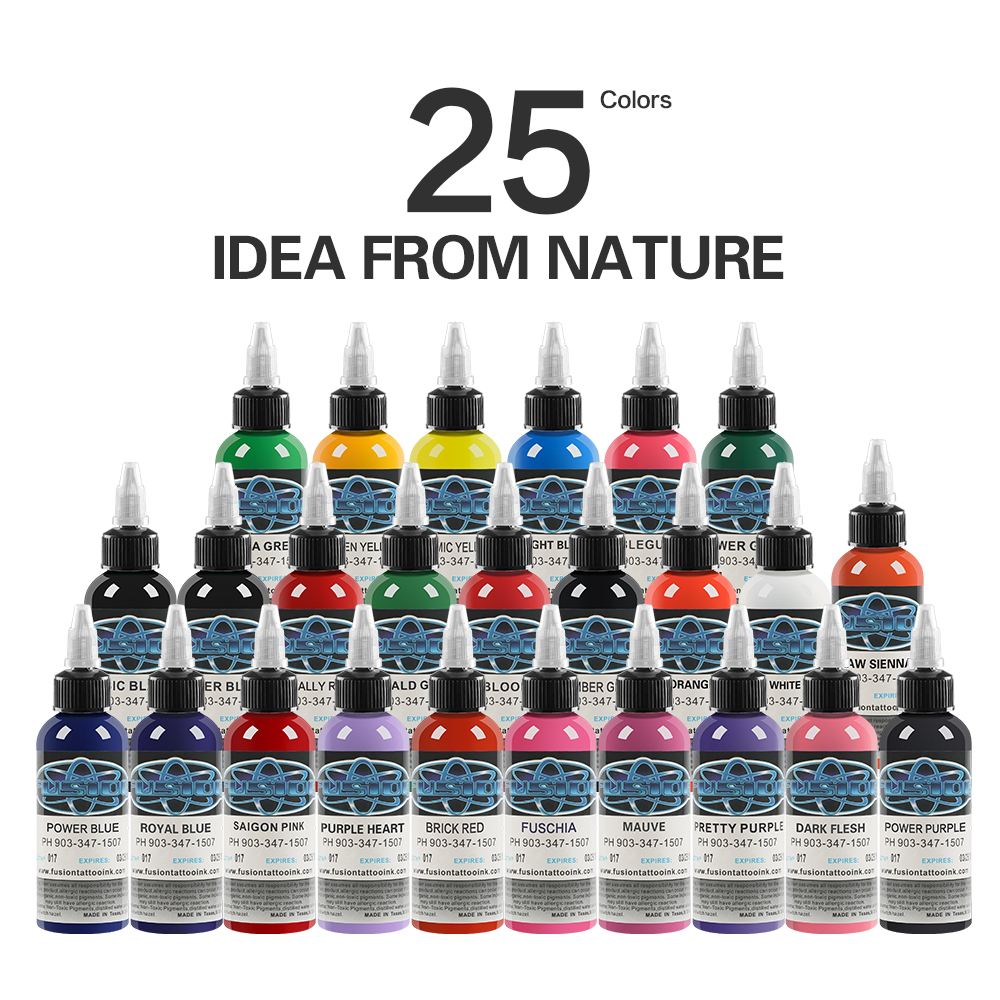 25Pcs Tattoo Ink Fusion tattoo inks 25 Colors Set 1 oz 30ml/Bottle Tattoo Pigment Kit for 3D makeup beauty skin body art tattoo new style 54 colors tattoo ink set 5ml bottle
