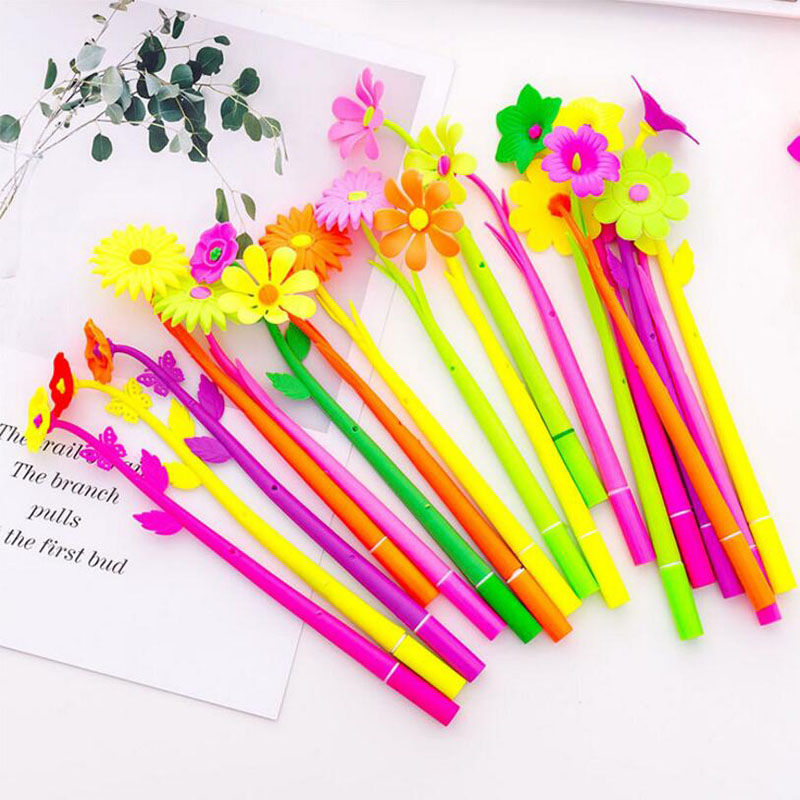 5pcs New Creative Cute Simulation Plant Flower Soft Silicone Gel Pen 0.5mm Refill School Office Stationery (Random Color)