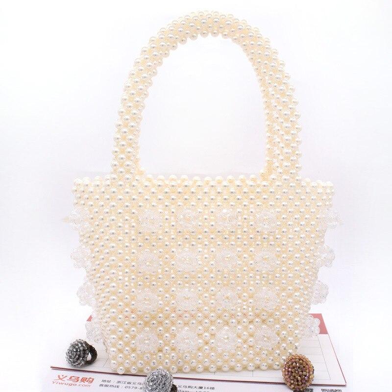 Femmes tissé à la main perle sac de plage été perlé sac à main dame top de fête poignée sac acrylique en plastique sac à main de luxe fourre-tout sac de soirée - 4