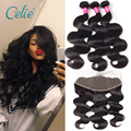 Bundles With Frontal 13x4 Ear To Ear Lace Frontal Closure With Bundles 8A Grade Brazilian Virgin Hair With Frontal Closure