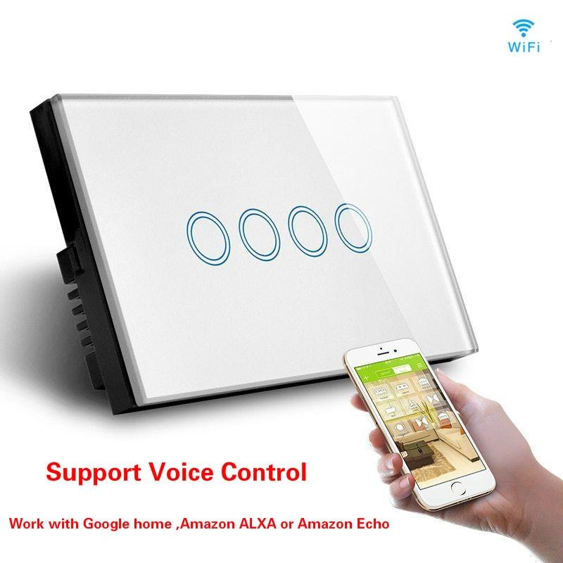 Wifi ワイヤレス壁スイッチソケット光スイッチングスマートオートメーションモジュール米国 AU タッチパネルで動作 Amazon Alexa Google ホーム  グループ上の 家電製品 からの ホームオートメーションモジュール の中 1