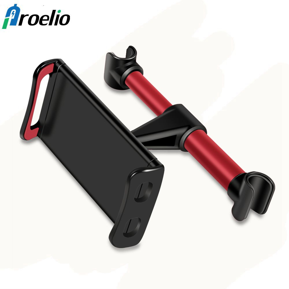 Proelio 4-11 inch Alloy Car Phone Holder Back Seat Tablet Bracket 3 in 1 Combo 360 Degree Car Holder For iPhone X 8 iPad mi Pad