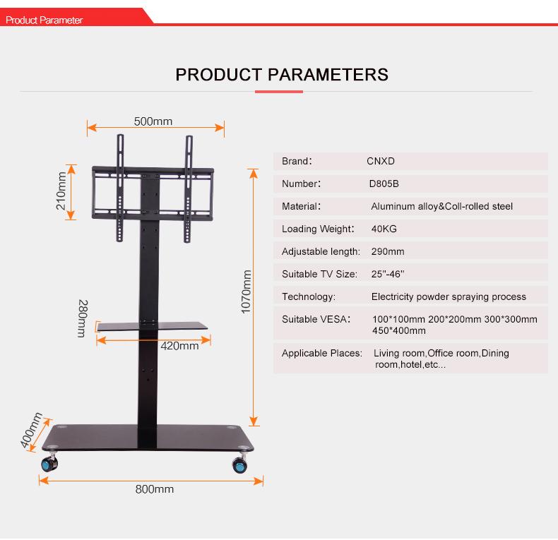 Acquista Mobile TV Display Supporto Da Pavimento Supporto Regolabile In  Altezza Con Ruote Supporto DVD Schermo Piatto Schermo LCD A LED Da 25 A 46  A ...