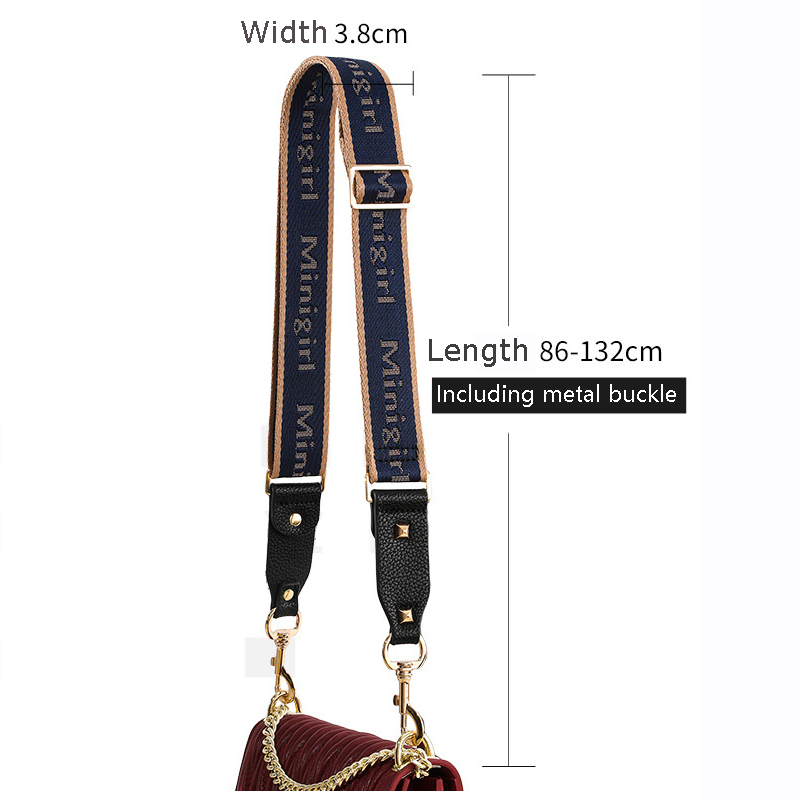 3.8cm Wide Canvas Nylon Strap for Shoulder Bag Strap Leather Handbag Handles Belt Accessories Adjustable Long 85-130CM KZ151371