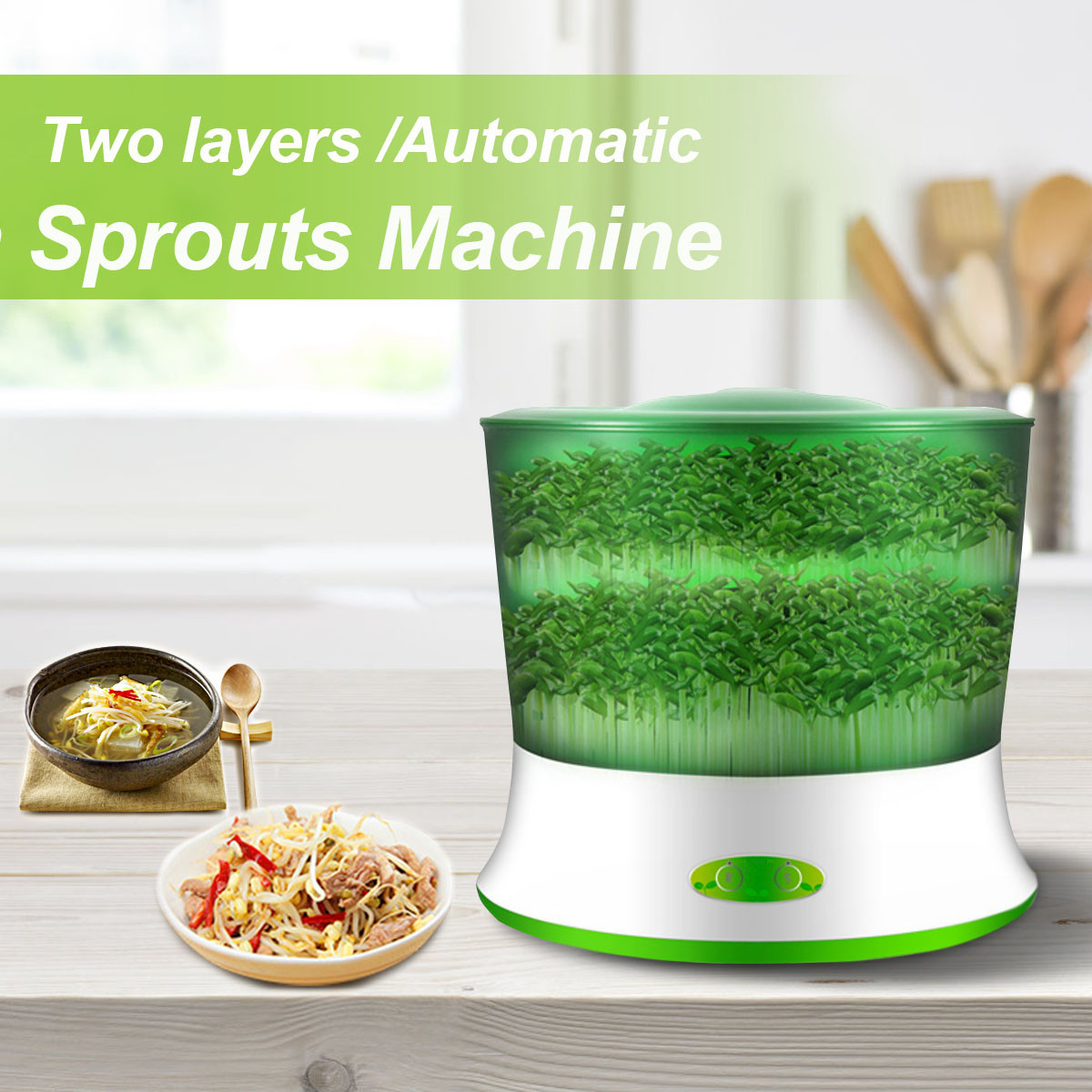 цена 220V 20W Automatic Bean Sprout Machine 2 Layer Multifunctional Homemade Sprout Bud Machine Intelligent Microcomputer Control