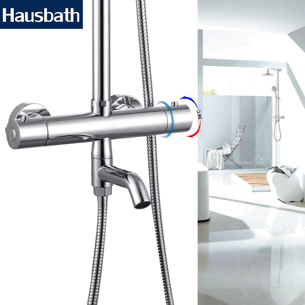 Bath Shower Faucet Thermostatic Faucets Mixer Tap Nozzle Temperature Control Chrome Brass Bathtub Tap Dual Hole
