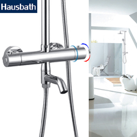 Bath Shower Faucet Thermostatic Faucets Mixer Tap Nozzle Temperature Control Chrome Brass Bathtub Tap Dual Hole