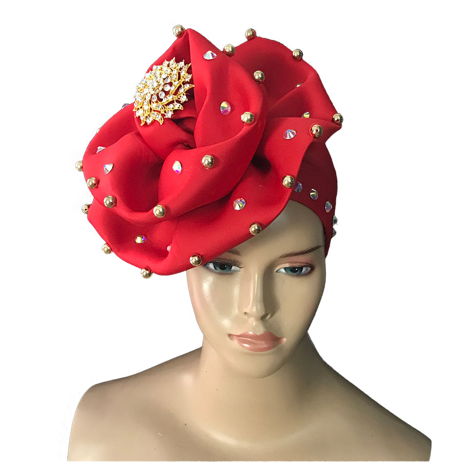 Africa Big Flower Cap With Beads Women Turban Headite Auto Gele Sego Headtie To Have Both The Quality Of Tenacity And Hardness