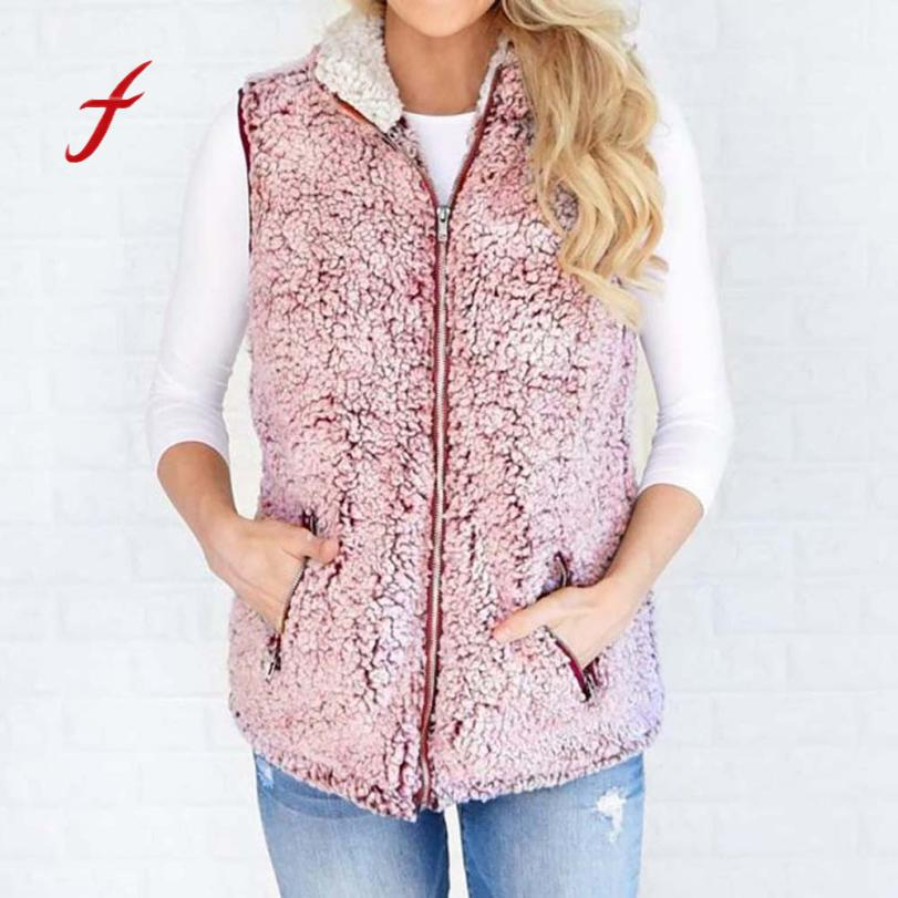 FEITONG Jackets For Women Fashion Autumn Winter Keep Warm Outwear Casual Faux Fur Zip Up Sherpa