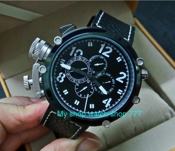 50mm PARNIS left hand crown black dial Automatic Self-Wind movement Auto Date Men's watch cow Leather strap PVD case 399A