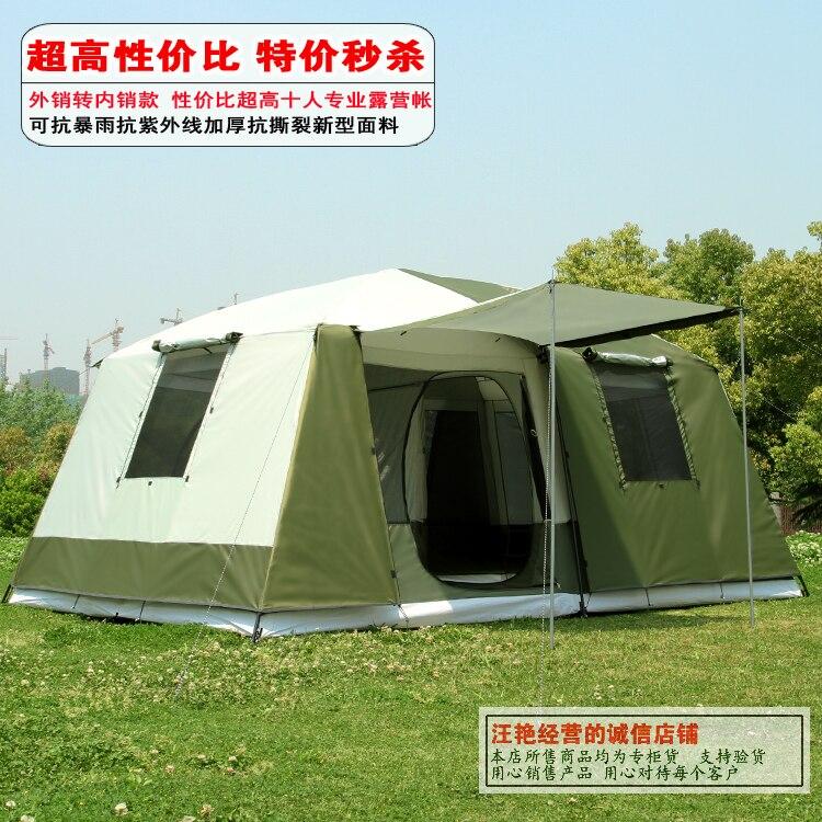 Deux chambres 6-12person grand espace double couche imperméable coupe-vent super forte 4 saison camping tente familiale