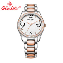 Gladster модные алмазные женские наручные часы эксклюзивный бренд золотой кофе сталь платье женские часы сапфировые Хрустальные кварцевые женские часы