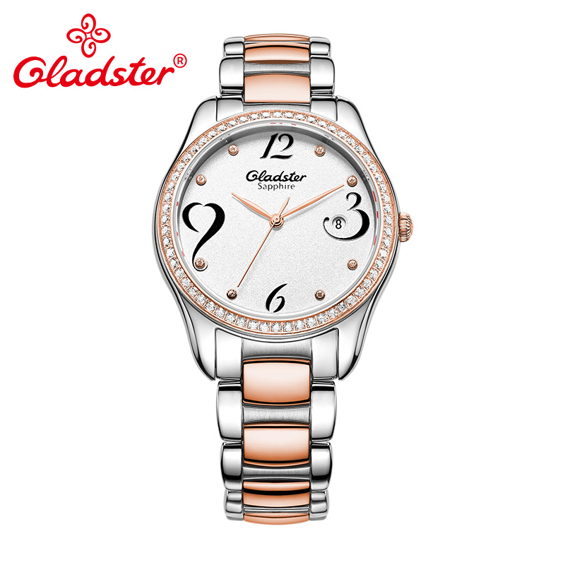Gladster Fashion Diamond Women Wristwatch Luxury Brand Golden Coffee Steel Dress Lady Clock Sapphire Crystal Quartz Female Watch