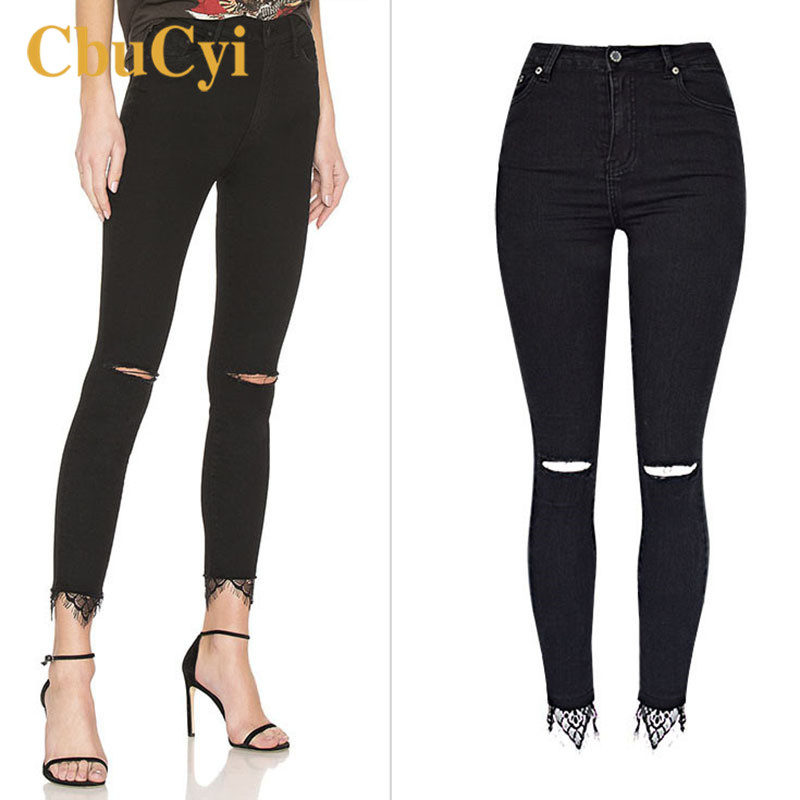 2019 Women's High Waist Pants Plus Size Washed Stretch Hole Denim Jeans Women Casual Skinny Pencil Pants Trousers with Lace Edge