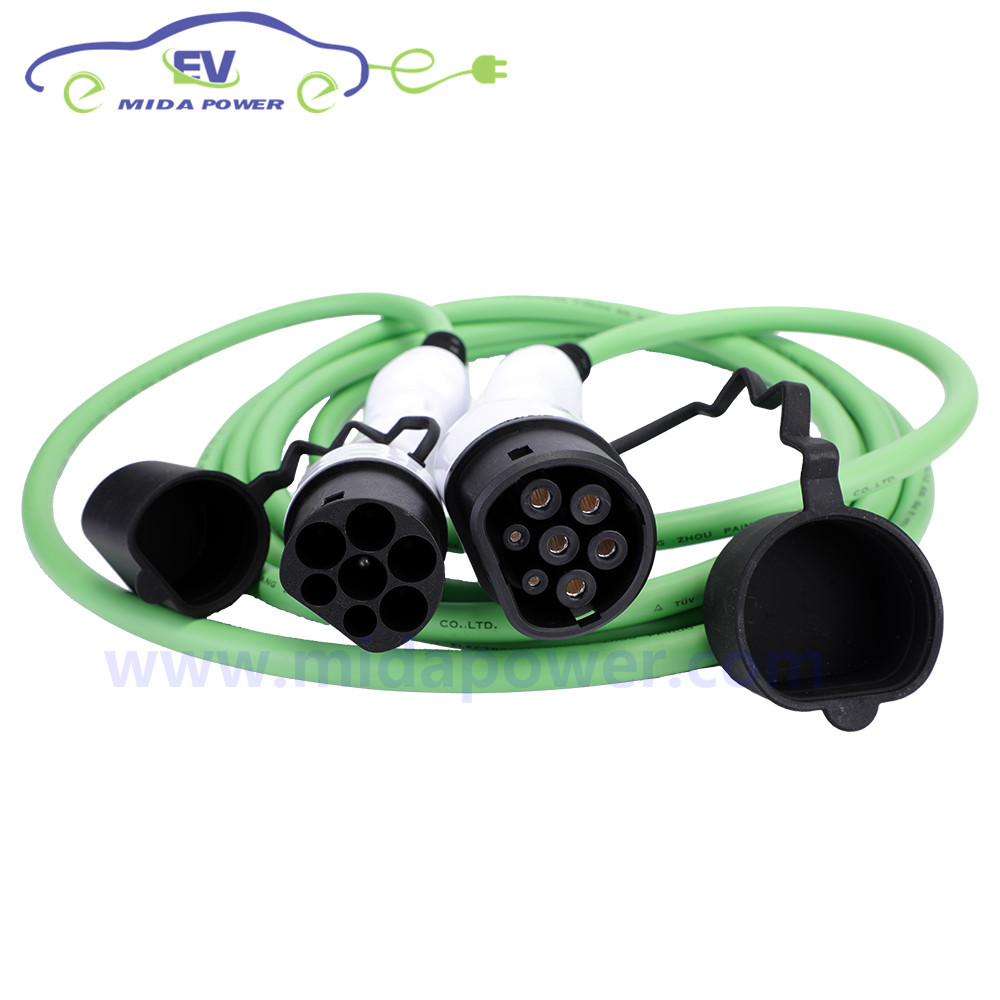 Europe CE 32A 5 mètres IEC62196 Type 2 à Type 2 EV câble de charge 3x6mm2 + 2x0. 5mm2 EVSE câble de chargeur côté voiture PHEV EV