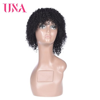 Indian Afro Kinky Curly Wigs Short Wigs For Black Women Indian Human Hair Wigs Machine Made UNA Short Non Remy Human Hair Sale una short malaysia human hair wigs for women sassy curly non remy human hair 120