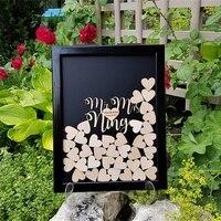 パーソナライズ結婚式ゲストブック、木材結婚式ゲストブック代替、カスタムハートゲストブックフレーム、素朴なドロップボックスウェディングインテリ