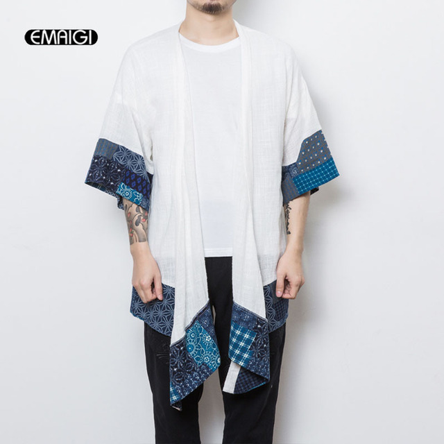 Los hombres de estilo chino de media manga Trench Rebeca abrigo hombre moda  Casual largo Kimono 9d3983549677