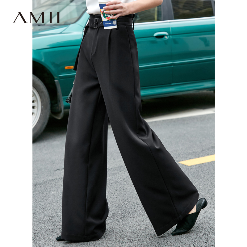 Amii Minimalist สำนักงาน Flare กางเกงผู้หญิง 2019 Causal สูงเอวกระเป๋าเข็มขัดหลวมยาวกางเกง-ใน กางเกงและกางเกงรัดรูป จาก เสื้อผ้าสตรี บน AliExpress - 11.11_สิบเอ็ด สิบเอ็ดวันคนโสด 1