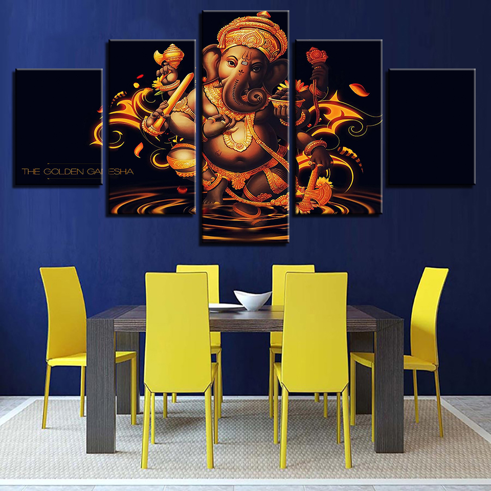 Painting Modular Vintage Art 5 Panel Lord Ganesha Home Decoration Print Canvas Wall Framework Picture For Living Room Poster