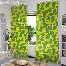 Green Leaf Yellow 3D Tulle Curtains for Living Room Decoration Modern Bedroom Window Curtain Chiffon Sheer Voile Kitchen Curtain цены