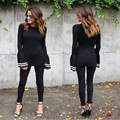 New 2017 Womens Fashion Black Long Butterfly Sleeve Tops Blouses For Ladies Autumn Winter Casual Striped Full Sleeve Shirts XL